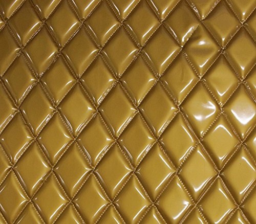 (Vinyl Patent Quilted Foam Glossy Gold Fabric 2