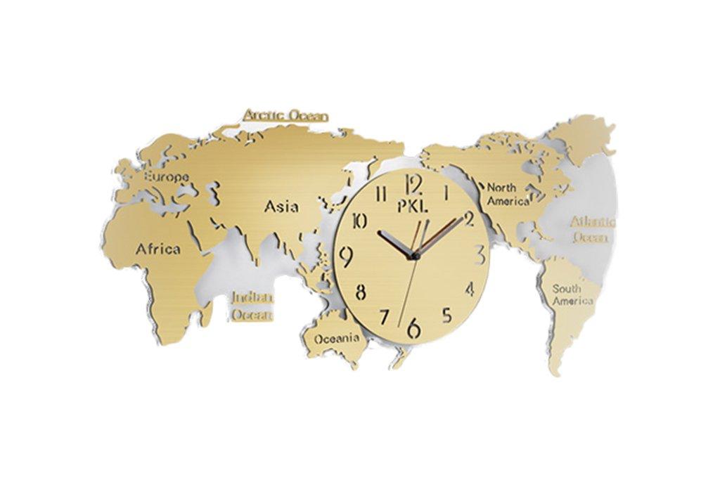 Lizhang Dekoration Wanduhr, Startseite - Weltkarte Modellierung Uhren, Wohnzimmer Schlafzimmer Restaurant Bar Coffee Shop, Kreative Wanduhr groß, (74-120cm) (Farbe : D-74*34CM)