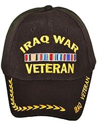 Iraq War Veteran Military Style Baseball Cap Hat Black with Logo Embroidery, Adjustable