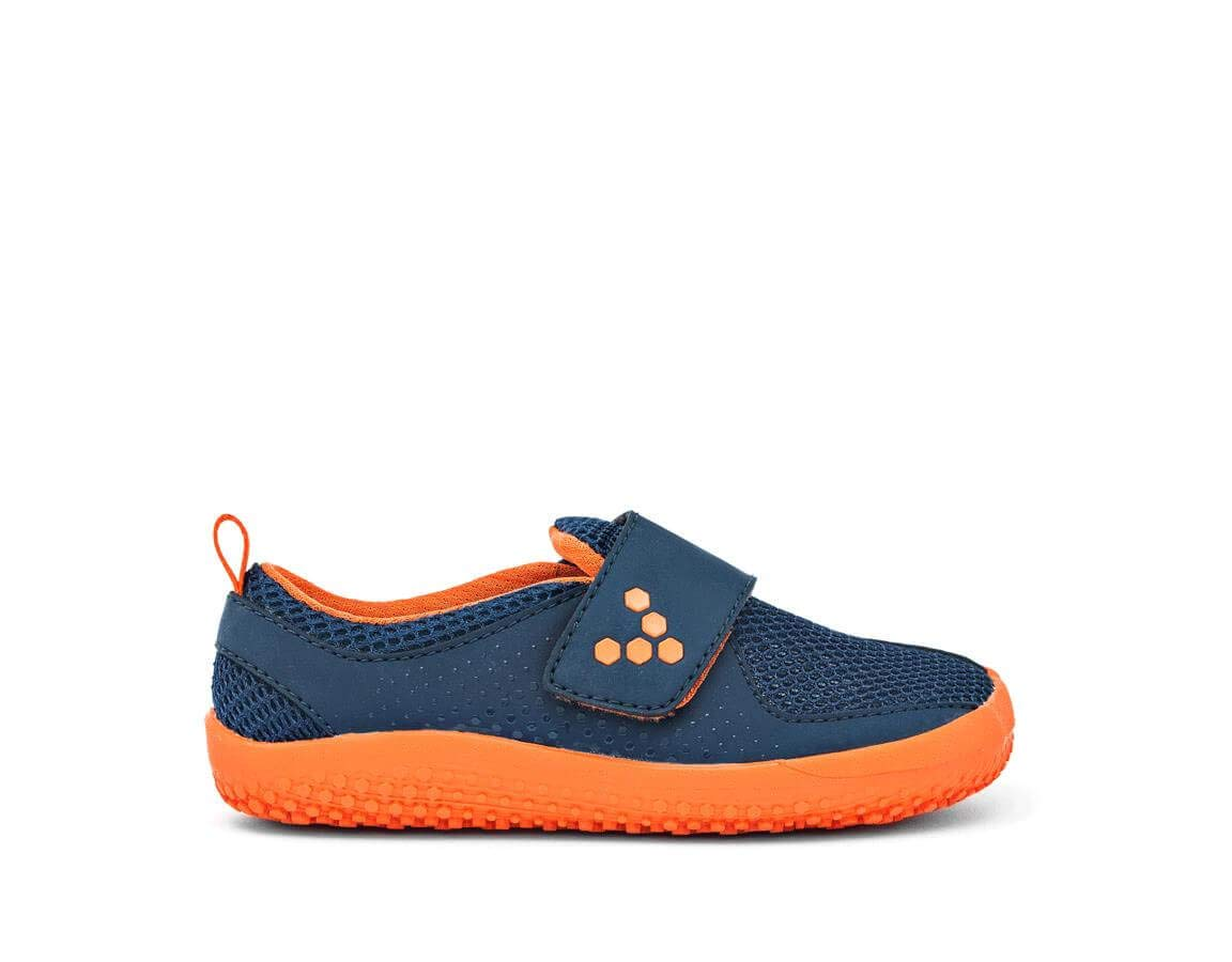 Vivobarefoot Boys Mini Primus Kid's Running Trainer Shoe, Navy/Orange 20 D EU Toddler (5 US)