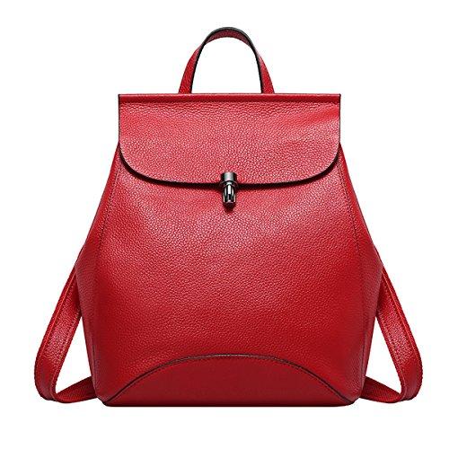Rosso Donne Liscia In E Zaino Delle Borsa Pelle Medio ragazza Di xqxzRwC