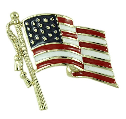 Lilylin Designs Patriotic Red, White, and Blue American Flag Brooch Pin