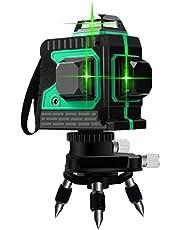 Blue-Yan Nivel de autonivelación de Haz Verde 3D de 12 líneas, Nivel de línea Cruzada 3 x 360, Nivel de Haz Verde de línea Horizontal y Vertical