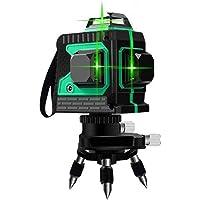 Blue-Yan Nivellement Automatique de nivellement avec Faisceau Vert 3D 12 Lignes, Niveau de Trait Transversal 3 x 360, Niveau de Faisceau Vert avec Trait Horizontal et Vertical