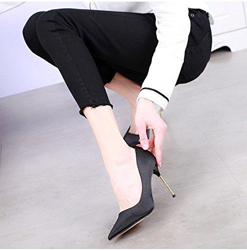 SSBY Sharp 9Cm Tacones Altos Metal Fino Tacón Boca Superficial Zapatos De Mujer Primavera Nuevo Estilo Sexy Enrejado Temperamento Zapatos black