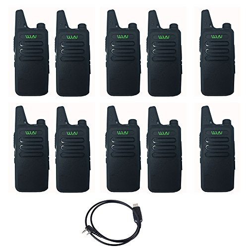 10PCS WLN KD-C1 Walkie 16 Channel Talkie Ham Radio UHF 400-470 MHz MINI-handheld Transceiver Two Way Radio Communicator+1PCS Programming Cable by WLN