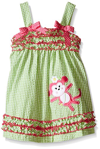Girl 4t 4 Rare Editions (Rare Editions Little Girls' Toddler G Check Seersucker Dress with Monkey Applique, Green/White, 4T)