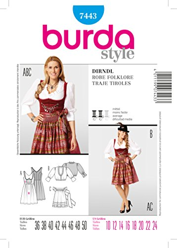 Burda 7443 Dirndl Robe Folklore Sewing Pattern Traje Tiroles