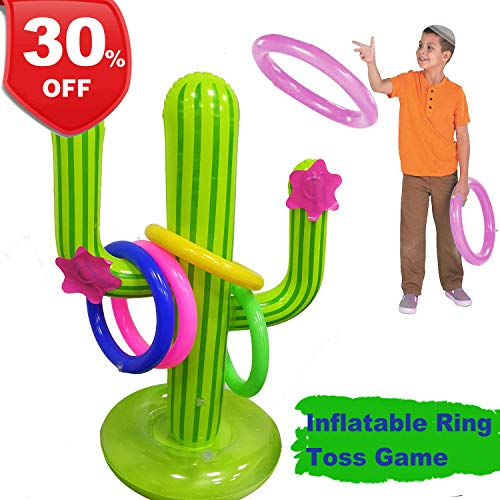 Inflatable Cactus Ring Toss Game,【July 15 & 16 Deals】Perfect for Pool Party Float Fun Toys, Luau Party Supplies Decorations, Hawaiian Beach Party Favor Lawn Games for Kids Adults Family Reunion -