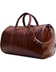 Cenzo Garment Duffle Travel Bag Suitcase in Brown Full Grain Leather