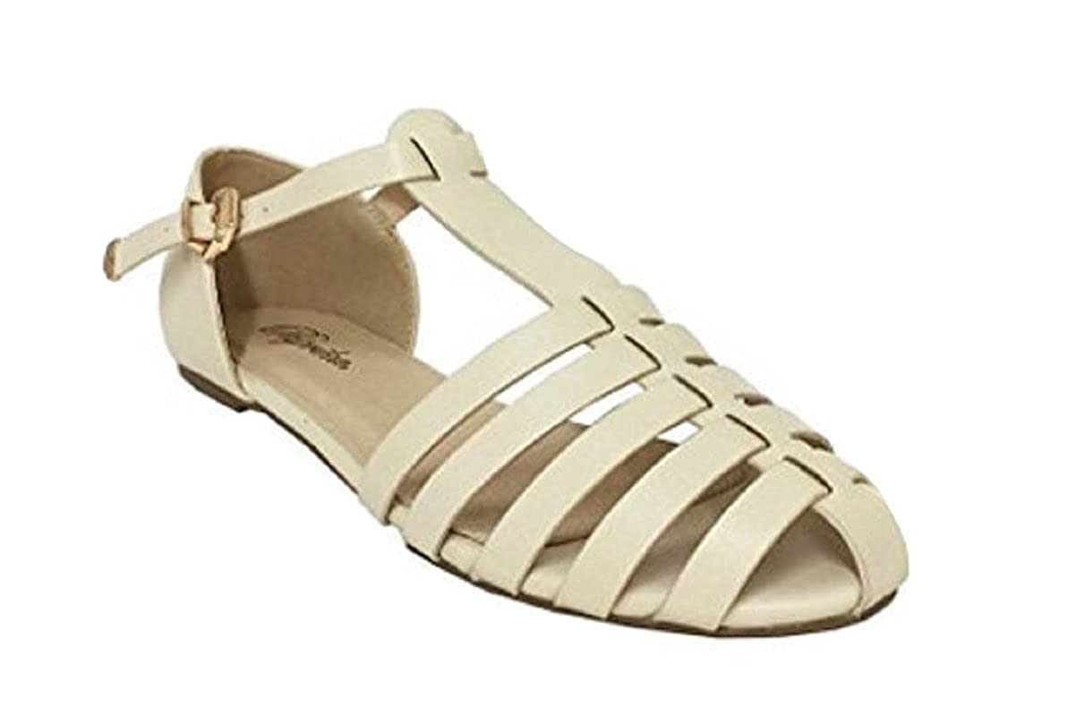 Retro Vintage Flats and Low Heel Shoes Paprika Women Leatherette Almond Toe T-Strap Fisherman Flat Sandal $29.99 AT vintagedancer.com