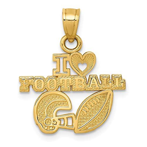 (14k Yellow Gold I Heart Football Pendant Charm Necklace Talking Sport Fine Jewelry Gifts For Women For Her)