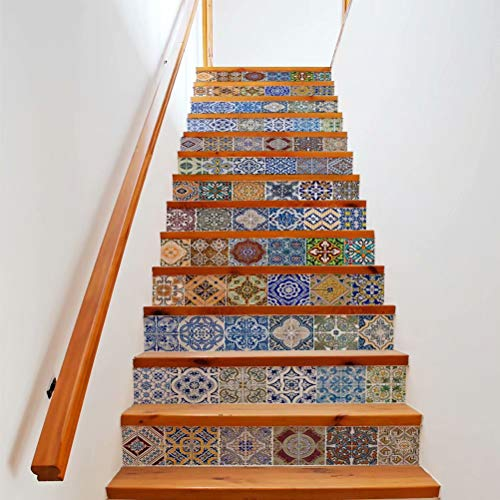Tifege Stair Sticker Decals Ceramic Tiles 13 Piece 3D DIY Staircase Wallpaper Wall Mural Home Decor Decoration Removable 39.3x7 FS060