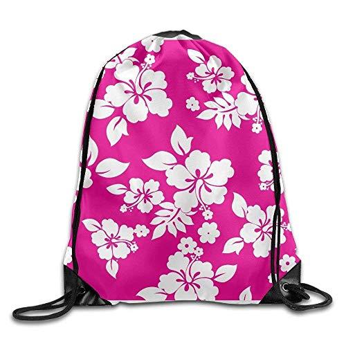 BJsihuanlujiud Hawaii Tropical Flower Plants Gym Drawstring Backpack Unisex Portable Sack Bag ()
