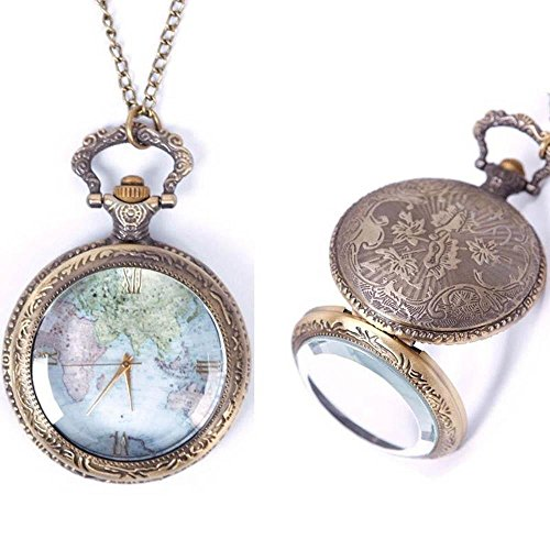 Fuleewoo Wonderful Case Chain Necklace Steampunk Long Chain Vintage Retro Quartz Pocket Watch World Map Pattern