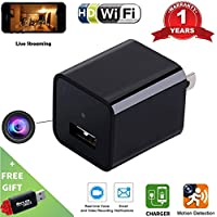 Wi-Fi Hidden Camera USB Phone Charger-HD 1080P Spy Cameras-AC Wall Plug Adapter Cam- Motion Detection  -APP Remote Video View -Nanny Cam / For Home Security -Kids , Pets Surveillance By Fifi Spectrum