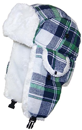 Best Winter Hats Big Kids Quality Madras Plaid Russian/Trapper Hat W/Faux Fur (One Size) - - Helmet Plaid