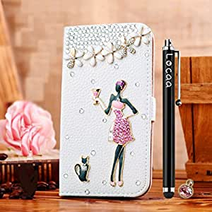 Locaa(TM) Samsung Galaxy S4 SIV Mini i9190 i9195 i9192 3D Bling Crystal Pearl Diamond Rhinestone Eyecatching Beautiful Leather Folio Support Smart Cover With Card Holder Case - [General series] goblet girl