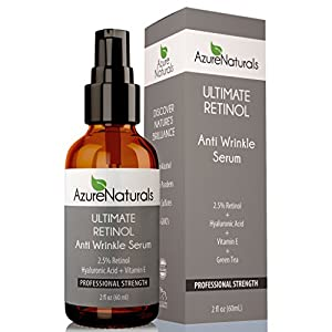 2.5% STRONGEST RETINOL Serum WRINKLE ERASER, Hyaluronic Acid + Vitamin E, Will Erase Fine Lines, Treat Acne, Best Organic Anti Aging Anti Wrinkle Retinol Cream & Natural Skin Care Product Available!
