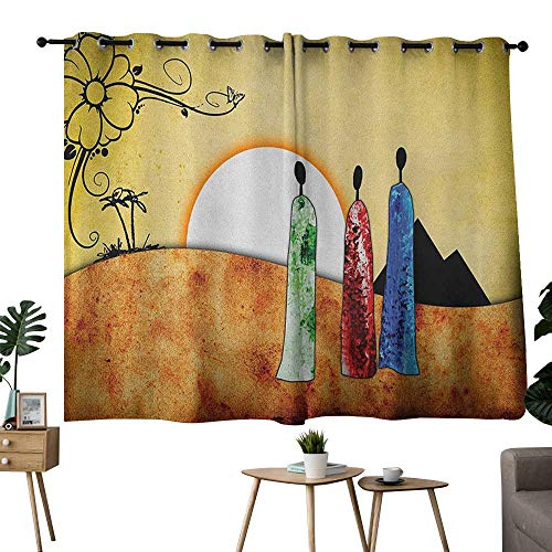 NUOMANAN Window Curtains African,African People Facing Large Sun in Savannah Desert Boho Tribal Wildlife Illustration, Multi,Rod Pocket Drapes Thermal Insulated Panels Home décor - Pull Rooster Facing