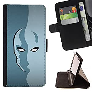 DEVIL CASE - FOR HTC One M9 - Mask Hero Face Portrait Faceless Anonymous - Style PU Leather Case Wallet Flip Stand Flap Closure Cover