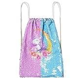Drawstring Gift Bags Flip Sequin Unicorn Bag Girls Kid Magic Reversible Cute