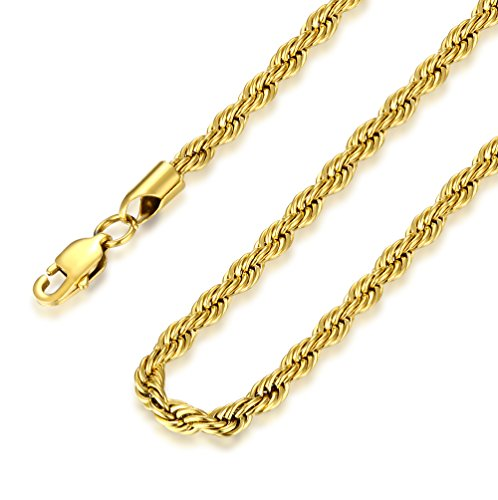 FOSIR 4mm Stainless Steel Mens Womens Necklace 18K Real Gold Plated Twist Rope Chain, 18-30 inch