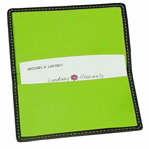 Royce Leather Business Card Case (Black/Key Lime Green)