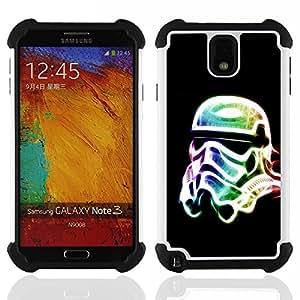 - Neon Glow Trooper Mask/ H??brido 3in1 Deluxe Impreso duro Soft Alto Impacto caja de la armadura Defender - SHIMIN CAO - For Samsung Galaxy Note3 N9000 N9008V N9009