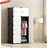 Modern Clothing Wardrobe Closet Storage Organizer Waterproof Attractive Design Home Extra Storage For Blankets Pillows Sheet 8 Boxes Easy Cleaning Lightweight White and Black & eBook by BADA shop