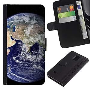 KLONGSHOP / Tirón de la caja Cartera de cuero con ranuras para tarjetas - Blue Planet Earth Home View Space Distant - Samsung Galaxy Note 4 SM-N910
