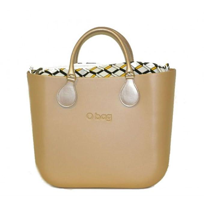 Bolsa o Bag Grande champán con asas y bolsa a cuadros