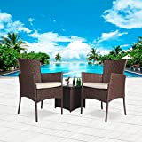 Cloud Mountain Outdoor 3 Piece Patio Bistro Set Chair Set Wicker Rattan Bistro Set Wicker Furniture - Two Chairs with Glass Coffee Table, Beige Cushion Cocoa Brown Rattan