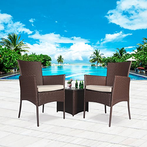 Cloud Mountain Outdoor 3 Piece Patio Bistro Set Chair Set Wicker Rattan Bistro Set Wicker Furniture - Two Chairs with Glass Coffee Table, Beige Cushion Cocoa Brown Rattan by Cloud Mountain
