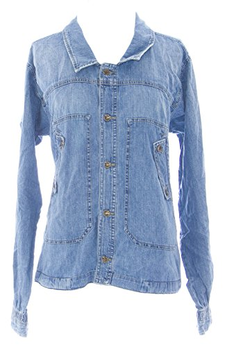 Diesel Women's Gothin Ruched Back Denim Jacket #00C8UF Med Wash Sz M New ()