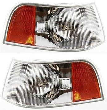 Corner Light Compatible with 1998 Volvo S90 V90 Plastic Clear /& Amber Lens Passenger Side