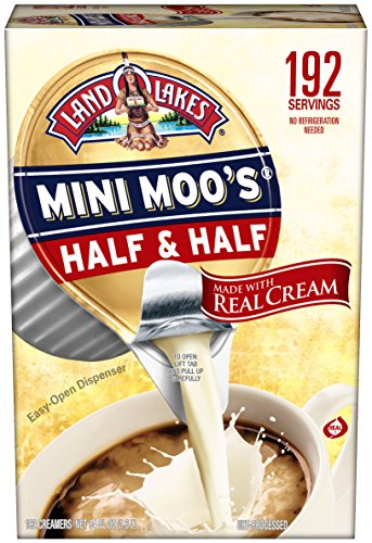 Land O Lakes Mini Moos Creamer Half and Half Cups 192 Count 54 fl oz (Pack May Vary), Individual Shelf-Stable Half and Half Pods for Coffee Tea Hot Chocolate, Made with Real Cream - Mini Stack