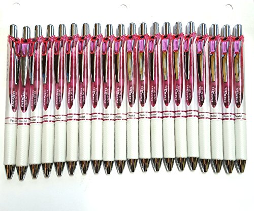Pentel EnerGel Deluxe RTX Retractable Liquid Gel Pen,0.7mm, Fine Line, Metal Tip, Black Ink-Value set of 20