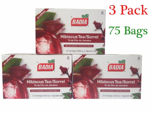 Badia Hibiscus Tea/Sorrel (3 Pack) 75 Bags(Natural Antioxidant)