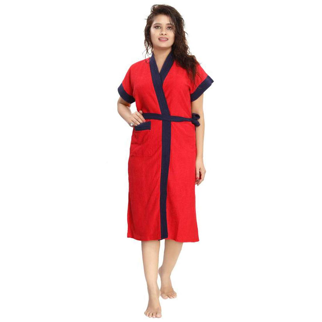 Poorak Two Tone Cotton Half Sleeves Bathrobe for Women - Free Size fit Upto 44 inches - Red (B07JND834D) Amazon Price History, Amazon Price Tracker
