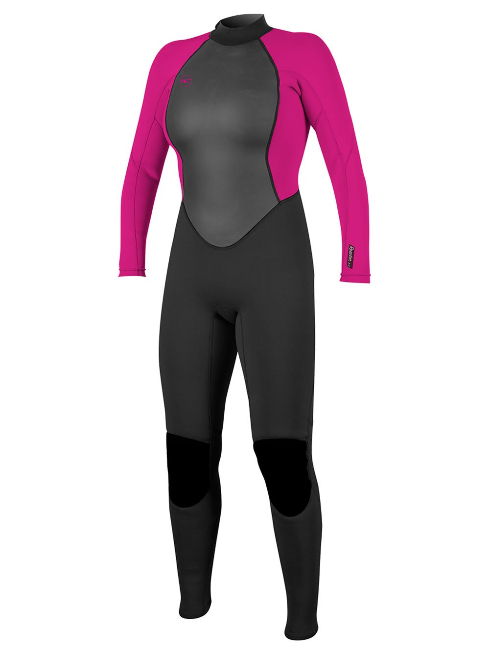 O'Neill Women's Reactor-2 3/2mm Back Zip Full Wetsuit, Black/Berry, 6