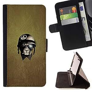 For Samsung Galaxy Core Prime / SM-G360 Case , Paz Guerra Guerrero veterano- la tarjeta de Crédito Slots PU Funda de cuero Monedero caso cubierta de piel