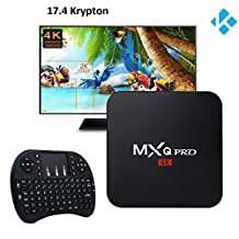 (2018 Version) 17.4 Krypton MXQ Pro Android TV BOX,Amlogic S905X Quad-Core Android 7.1 Nugat Wifi 4K Google Streaming Media Player,with I8 Mini 2.4Ghz Wireless Touchpad Keyboard