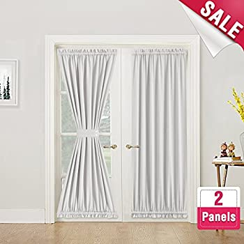 Amazon French Door Curtains Blackout White French Door Curtain