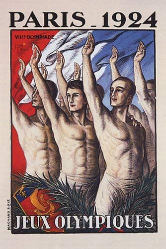 OLYMPIC GAMES PARIS 1924 JEUX OLYMPIQUES FRANCE FRENCH LARGE VINTAGE POSTER REPRO - Olympic 1924 Games