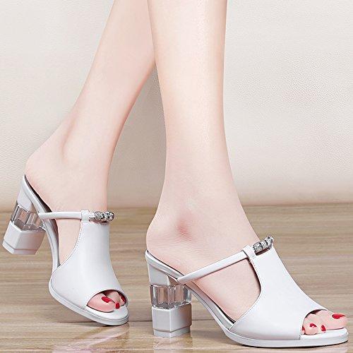 Jqdyl High Heels High-Heels Dick mit Medium Thick mit neuen Sommer Fischmaul Halbschuhe Sandalen Sandalen Schuhe  36|white