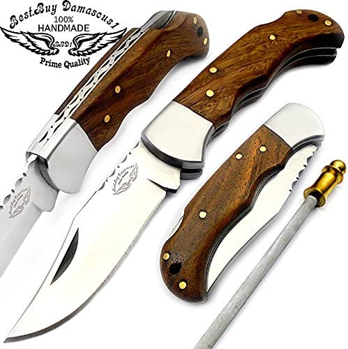 Best.Buy.Damascus1 Rose Wood 6.5 Handmade Stainless Steel Folding Pocket Knife with Sharpening Rod with Back Lock 100 Prime Quality