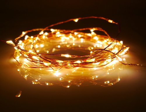 JEBSENS - Starry String Lights - Warm White Color on Copper Wire - 16ft LED String Light 100 ...