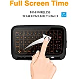 Mini Wireless Keyboard,Backllit Full Glass Screen Mouse Touchpad Combo,Rechargeable Remote Control for Android TV Box,PC, HTPC, IPTV,Xbox 360, PS3, PS4(Black) …
