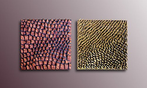 Amazon.com: Set of 2 Wall Sculptures - Textured paintings - 3D Wall ...